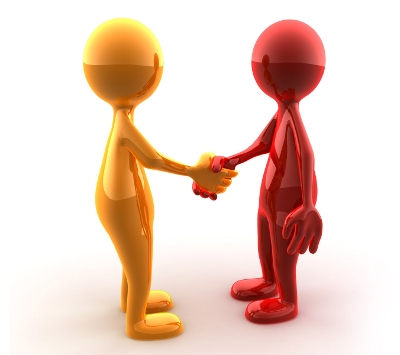 Handshake of two glossy characters